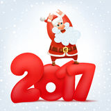 Crazy santa claus character. New year calendar title concept Stock Images