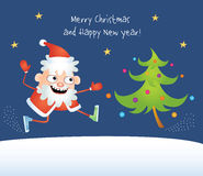 Crazy Santa dancing with a tree. Colorful  comical illustration of a cartoon crazy Santa Claus dancing with a decorated Christmas Tree. Design for greeting card Stock Photos