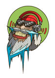 Crazy santa face with frozen beard. And big headphones. Vector Royalty Free Stock Images