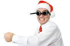 Crazy santa hat businessman Stock Photos