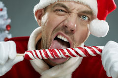Crazy Santa with lollipop. Portrait of aggressive Santa sucking a lollipop Royalty Free Stock Image