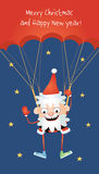 Crazy Santa parachutist Royalty Free Stock Images