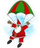 Crazy Santa skydiver Stock Images