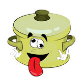 Crazy saucepan cartoon Royalty Free Stock Photo