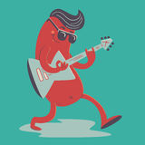 Crazy Sausage Playing Electric Guitar Royalty Free Stock Images