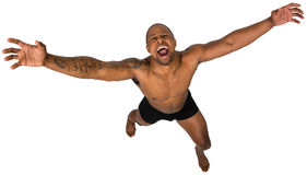 Crazy, Scared, Yelling, Insane, Isolated. An African American man is crazy, scared, frightened, insane, or going into insanity. Isolated on white Stock Photos