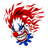 Crazy Scary Clown Cartoon Illustration. Very crazy looking scary clown illustration, bold colors in red white and blue on white background Stock Images
