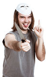 Crazy scary man with knife Stock Photo