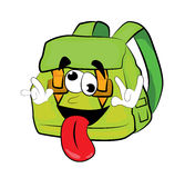 Crazy school bag cartoon Royalty Free Stock Photography