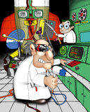 Crazy scientist. Illustration with original charaters. Scientists father and son are making a rocket Stock Photos