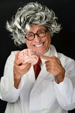 Crazy Scientist. Crazy Genius long hair scientist with brain Royalty Free Stock Images