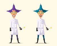 Crazy scientist. Funny character. Cartoon vector illustration. Royalty Free Stock Photo