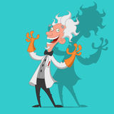 Crazy scientist. Mad scientist laughs ominously. Vector illustration Royalty Free Stock Photo