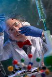 Crazy scientist holding lab mouse stock photography