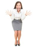 Crazy screaming business woman. Crazy excited businesswoman screaming. Full length portrait of mixed race Asian / Caucasian female model isolated on white Stock Photography