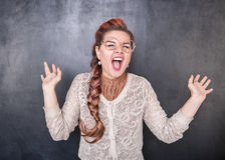 Crazy screaming teacher Stock Photography