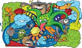 Crazy sea-life creatures having fun 2 Stock Image