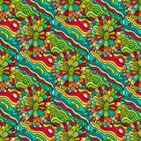Crazy seamless hand drawn vector pattern. Bright summer colours, modern flowers. Boho fashion style for print, batik, silk textile. Crazy seamless hand drawn stock illustration