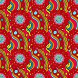 Crazy seamless hand drawn vector pattern. Bright summer colours, modern poppy flowers. Boho fashion style for print, batik, silk t Stock Photos