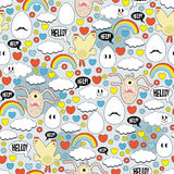 Crazy seamless pattern with eggs and monsters. Royalty Free Stock Image