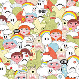 Crazy seamless pattern with strange creatures. Funny vector texture Royalty Free Stock Image