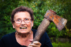 Crazy Senior Woman Royalty Free Stock Images