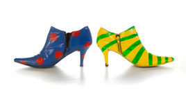 Crazy shoes. For self expression on white Royalty Free Stock Image