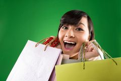 Crazy shopaholic Royalty Free Stock Image