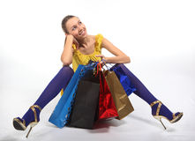 Crazy shopping. Happy girl with Shopping Bags stock image