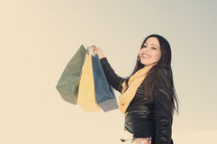 Crazy for shopping applied filter instagram style Royalty Free Stock Photos