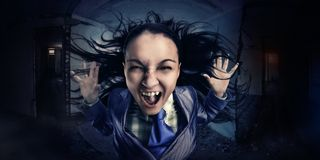 Crazy, shouting business woman Stock Images