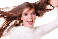 Crazy shouting happy girl. Shouting happy crazy girl with hair acting insane Royalty Free Stock Image