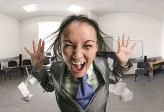 Crazy, shouting woman in the office Stock Image