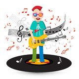 Crazy Singer and Bass Guitar Player on Vinyl Record with Staff royalty free illustration