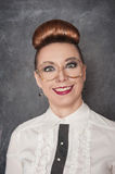 Crazy smiling woman in the eyeglasses Stock Photos
