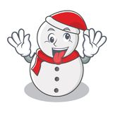 Crazy snowman character cartoon style. Vector illustration Royalty Free Stock Photography