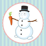 Crazy snowman with orange carrot Stock Photos