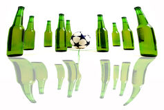 Crazy soccer. Soccer match with cold, fresh beer bottles Stock Photos