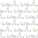 Crazy and strange bicycles in a line pattern Royalty Free Stock Image