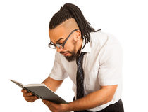 Crazy Student with Book Isolated and Eyeglasses Royalty Free Stock Photo