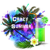 Crazy Summer background with green juice Royalty Free Stock Photography