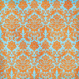 Crazy Summer Orange and Teal Damask Background Stock Photos