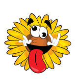Crazy sunflower cartoon Royalty Free Stock Photo