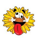 Crazy sunflower cartoon Royalty Free Stock Photo