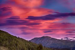 Crazy sunrise in the Norwegian mountains royalty free stock image