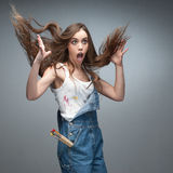 Crazy surprised female painter Royalty Free Stock Photos