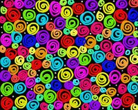 Crazy swirls. Abstract crazy swirly multi coloured background design created using thick impasto digital paint against a black canvas Stock Images