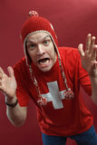 Crazy Swiss sports fan royalty free stock photography