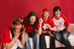 Crazy Swiss sports fans Royalty Free Stock Photo