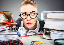Crazy thoughtful accountant businesswoman. Stock Image